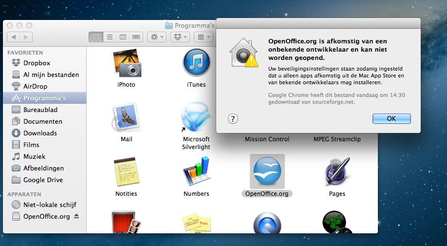 beveiligingsinstellingen Mac bij installeren software van onbekende ontwikkelaars