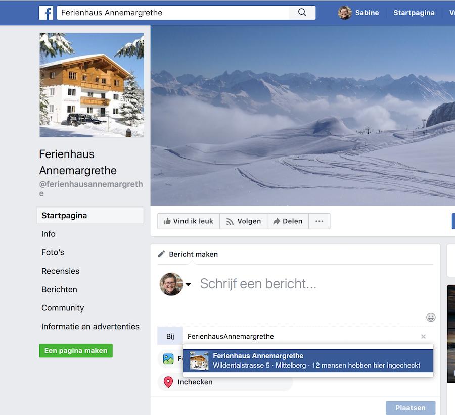 Facebookpagina problemen met inchecken